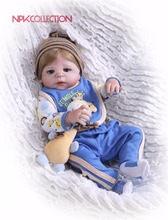 цена на NPK Real 57CM Full Body Silicone Boy Reborn Babies Doll Toys Prince Babies Doll Wig Hair Birthday Gift Kids Brinquedos