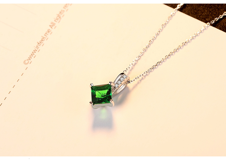 Hcf2f695b9fc04eef89338623159e0da2w CZCITY Charm Chain Necklace Emerald Green Cubic Zirconia Popular Jewelry 925 Sterling Silver Pendant Necklace for Women Gift