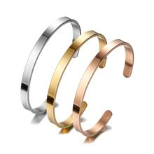 Granny Chic Women and Men 6mm Width Surface Bracelet Bangle Stainless Steel Silver/Gold/Rose Gold 3 Color