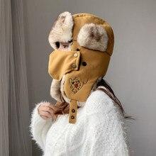 2020 inverno feminino pele máscara de esqui chapéu para meninas com gato e cão padrão equitação inverno à prova de vento russo ushanka earflap chapéus boné