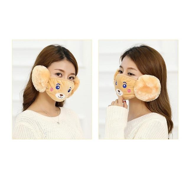 Mother Kids Cute Bear Ear Protective Face Mask Windproof Mouth-muffle Anti Dust Masks Children Anti Haze Flu Cotton Moiuth Masks 5