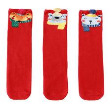 3 пары детские красные рождественские носки на осень и зиму