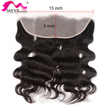 Lace Closure Human-Hair Body-Wave Brown Transparent 24-Inch Malaysian MEYA 20-22