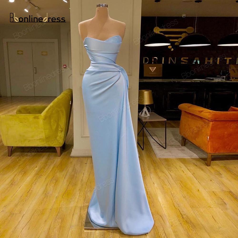 Bbonlinedress Mermaid Evening Dresses 2020 Long Prom Dress Sweetheart Pleat Charming Formal Gowns Plus Size Robe-de-soiree