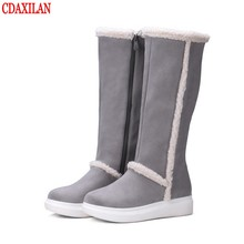 CDAXILAN new to womens snow boots faux suede fabric inner thin or thick  plush platform sole side zipper high-knee winter