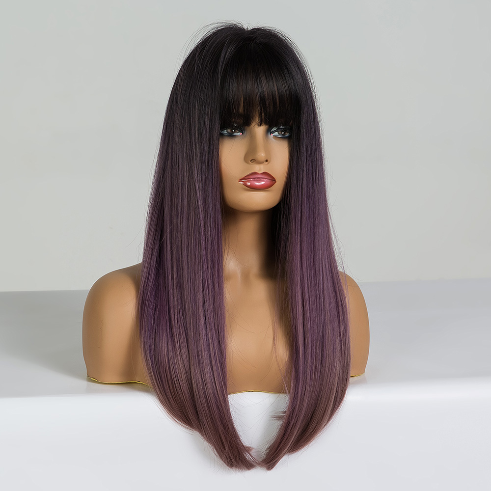 Image 2 - EASIHAIR Long Straight Black to Purple Ombre Hair Wigs With Bangs Synthetic Wigs Gluless Heat Resistant Wigs For Black WomanSynthetic None-Lace  Wigs   -