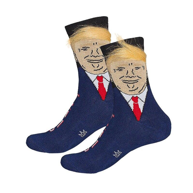 President Donald Trump Socks Unisex Funny Casual Socks For Men Women 3D Fake Hair Socks Hot Sale Hip Hop Skateboard Sock (SO18)
