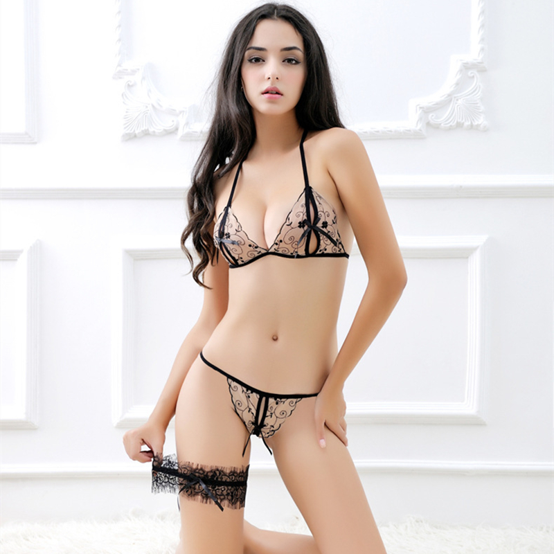 Luo Chen Three-point set sexy underwear crotch womens fun bra lace transparent open file exposed g-string S1618 LC