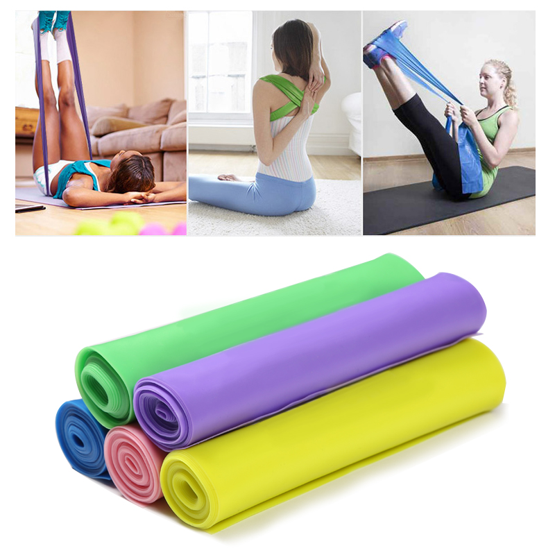 1.5m Elastic Yoga Pilates Rubber Stretch Exercise Band Elastic Resistance Workout Bands Exercise For Arm Back Leg Fitness