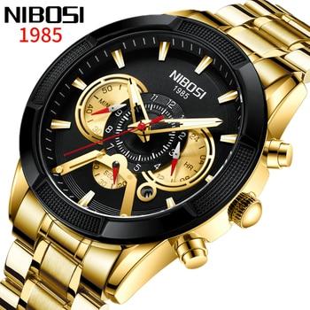 Relogio Masculino NIBOSI Original Watch Men Genuine Top Brand Luxury Sports Fashion Big Dial Waterproof Gold Watches