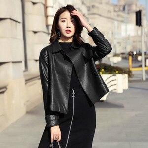 Image 2 - Ayunsue本革ジャケット春秋のジャケットの女性100% 本物のシープスキンのコート女性韓国ボンバージャケットチャケータmujer