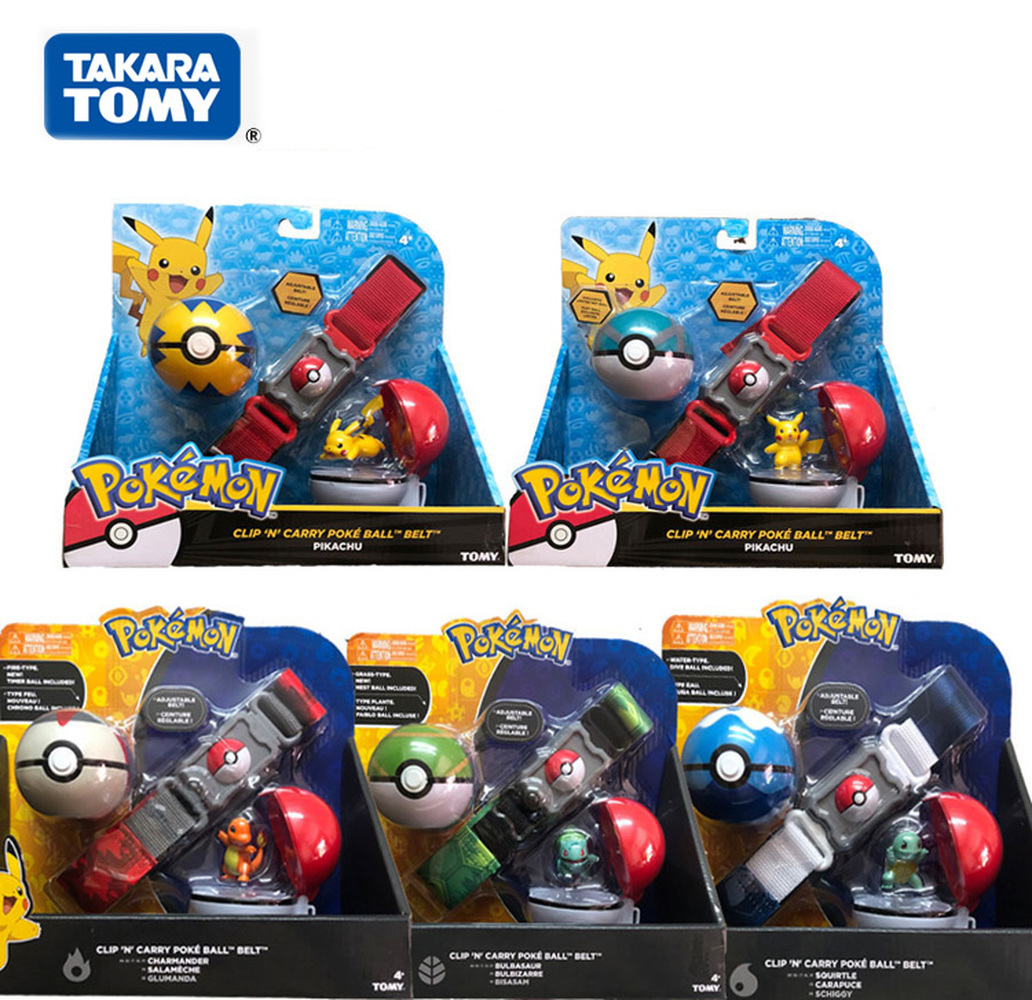 2019 Genuine TOMY US Version Pokemon Pikachu Master Ball Elf Ball Belt Set Telescopic Children's Toys Christmas Gifts POKEMON