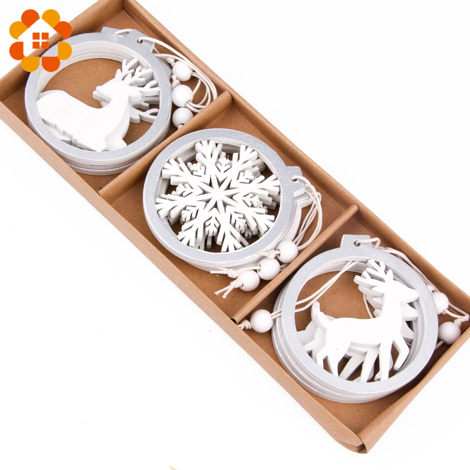3PCS/lot Silver White Round Wooden Snowflake/Deer Christmas Pendants Festival Party Xmas Tree Hanging Decor Ornaments Supplies