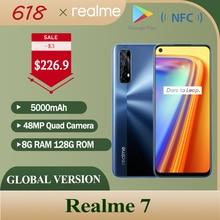 Realme 7 8 ГБ 128 мобильный телефон Глобальная Версия 6,5 ''90 Гц Дисплей Helio G95 Octa Core 48MP Quad Camera 5000 мА/ч, 30W Дротика заряда