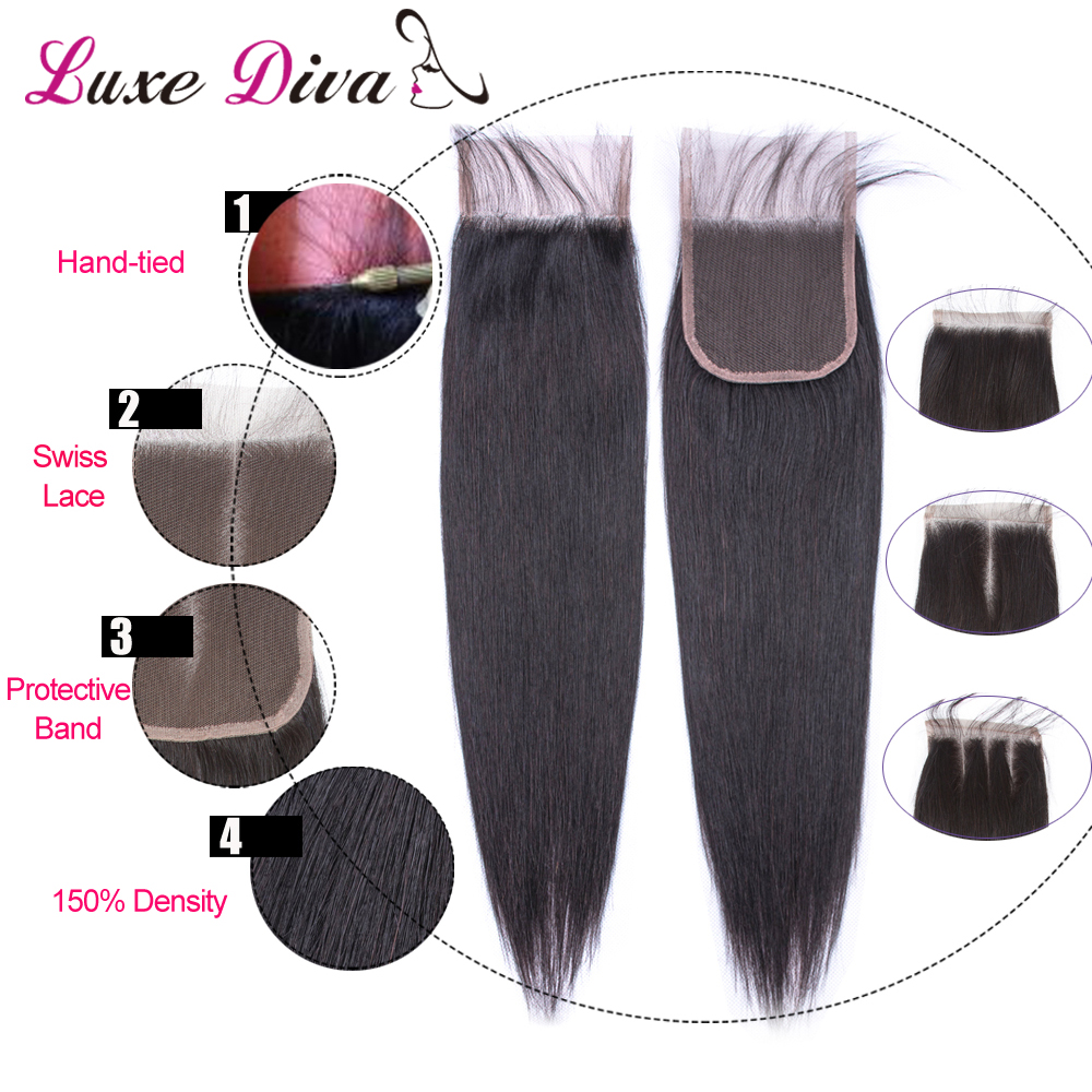 Image 5 - Luxediva Brazilian Straight Hair Bundles With Closure Human Hair Bundles With Lace Closure With Baby Hair Weave Bundles NoRemy-in 3/4 Bundles with Closure from Hair Extensions & Wigs
