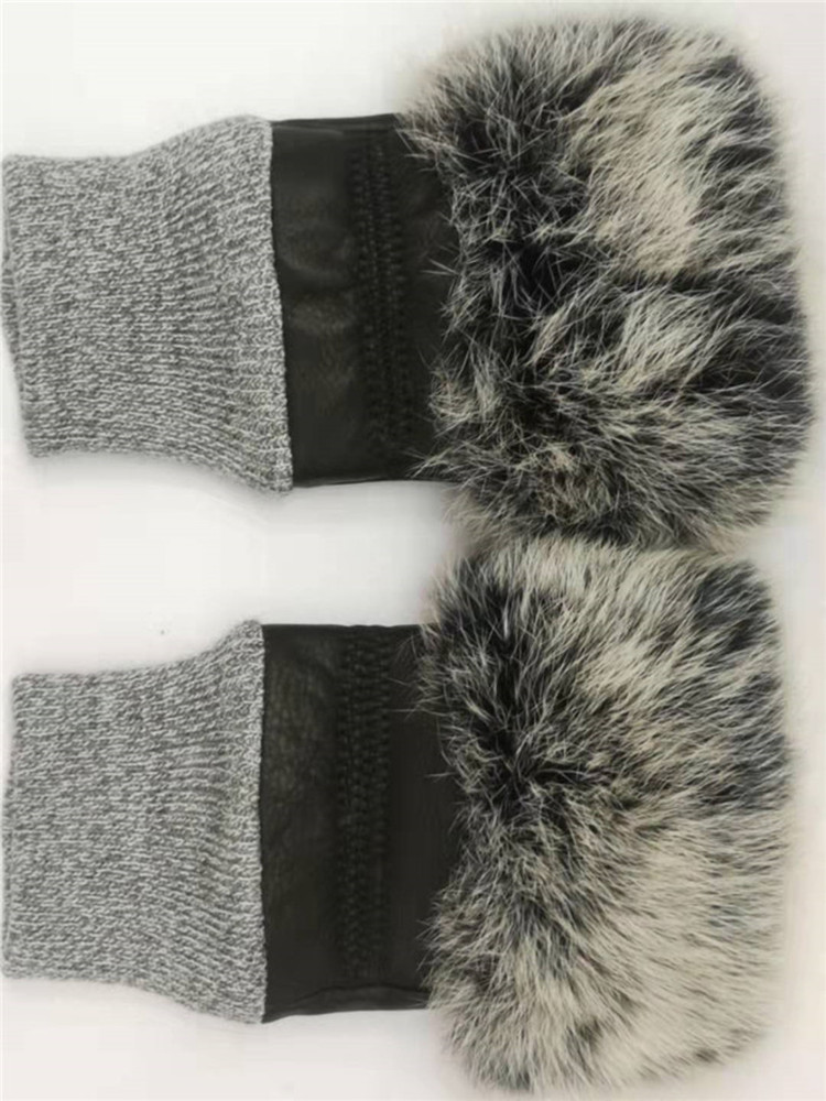 Fingerless Winter Women Gloves Leather Rabbit Fur Female Car Driving Lady's Warm Sheepskin Gloves