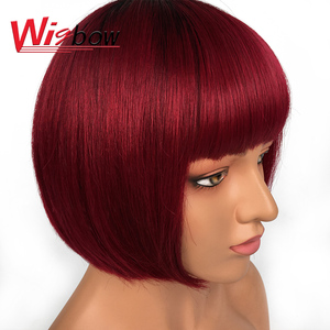 Human Short Straight Bob Wigs Brazilian Remy Hair Wigs For Women T1B/BG 1B 99J Color Wigbow ships For Free(China)