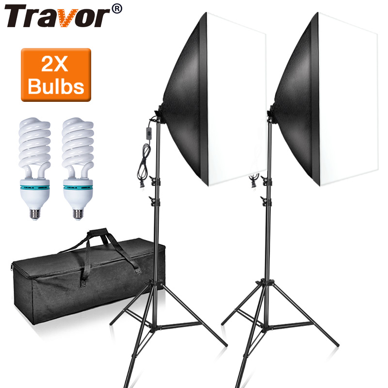Travor Softbox-Kit Light-Stand Lamp Photography-Lightbox DSLR with for Studio