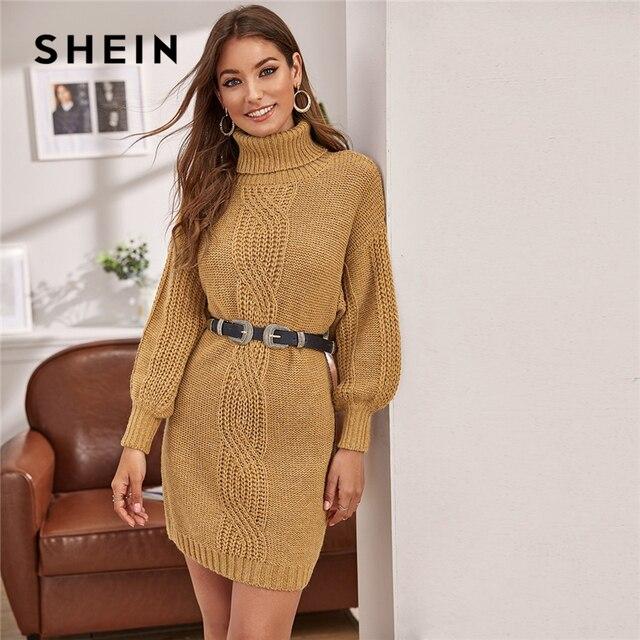 שיין גמל גולף כבל לסרוג שרוול פנס סוודר שמלה ללא חגורת נשים חורף קצר ישר מקרית שמלות