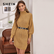 SHEIN Camel Turtleneck Cable Knit Lantern Sleeve Sweater Dress Without Belt Women Winter Short Straight Casual Dresses