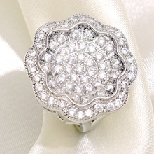 Luxury Flower Micro Pave Cubic Zircon Rings for Women Party Fashion White Gold Vintage Finger Ring Jewelry Gift Dropshipping