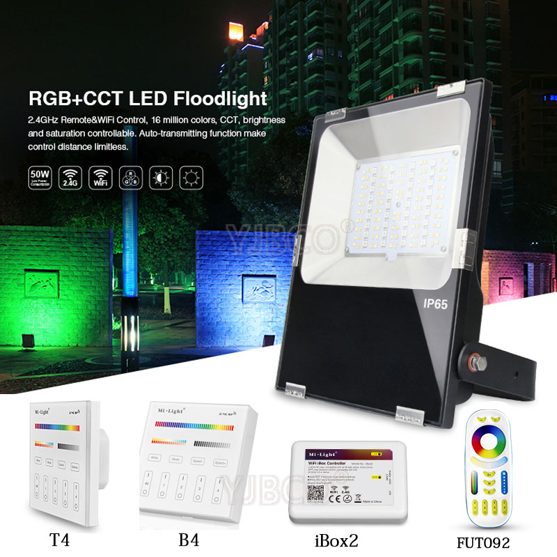 Miboxer 10W/20W/30W/50W RGB+CCT LED Flood light IP65 Waterproof AC86-265V Outdoor Lighting For Garden FUTT02