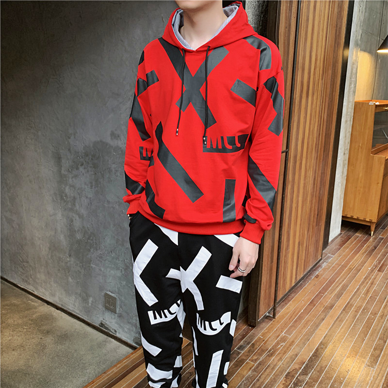 Letter Printing Men Track Suit Hooded Jacket Sweatsuit Mens Sports Suits Brand 2 Pieces Set Men Jogger Set Printed Tracksuit Men