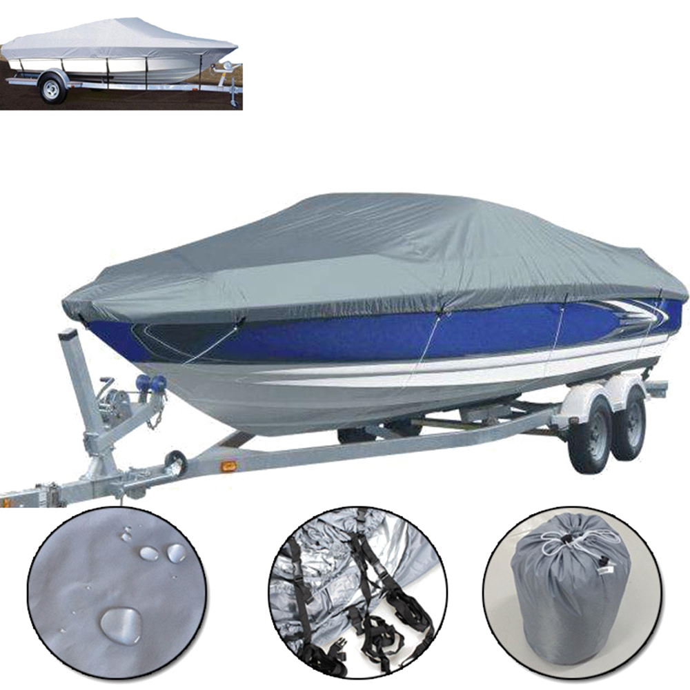 11 22FT Trailerable 210D Boat Cover Waterproof Grey Fish Ski V Hull Sunproof UV Protector Speedboat Boat Mooring Cover|Boat Cover| |  - title=