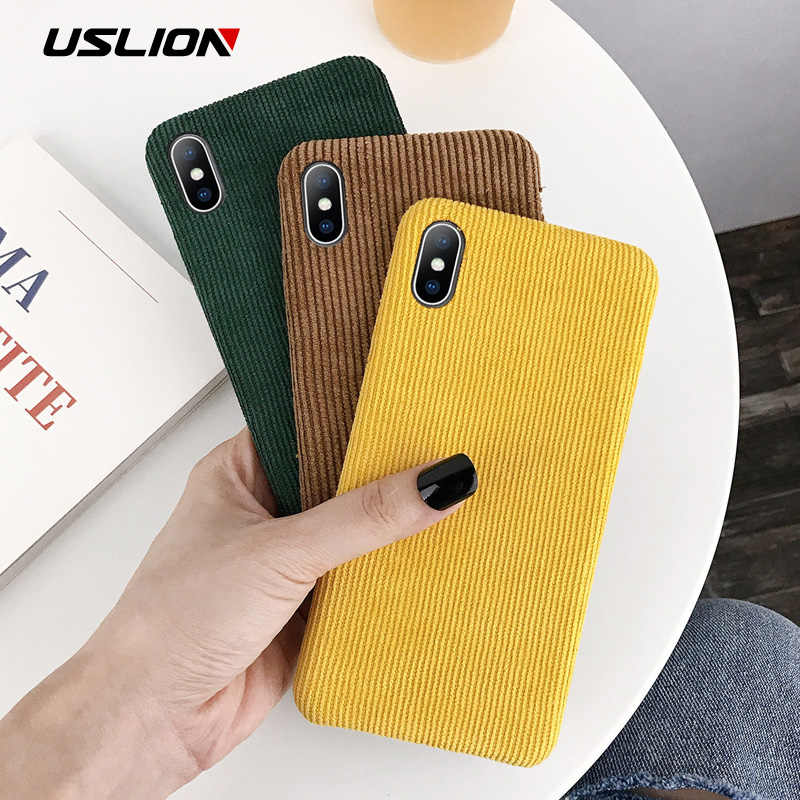 USLION Corduroy ผ้า Texture สำหรับ iPhone 11 Pro X XR XS MAX สำหรับ iPhone 7 8 6 6 S PLUS WARM Fuzzy Hard PC