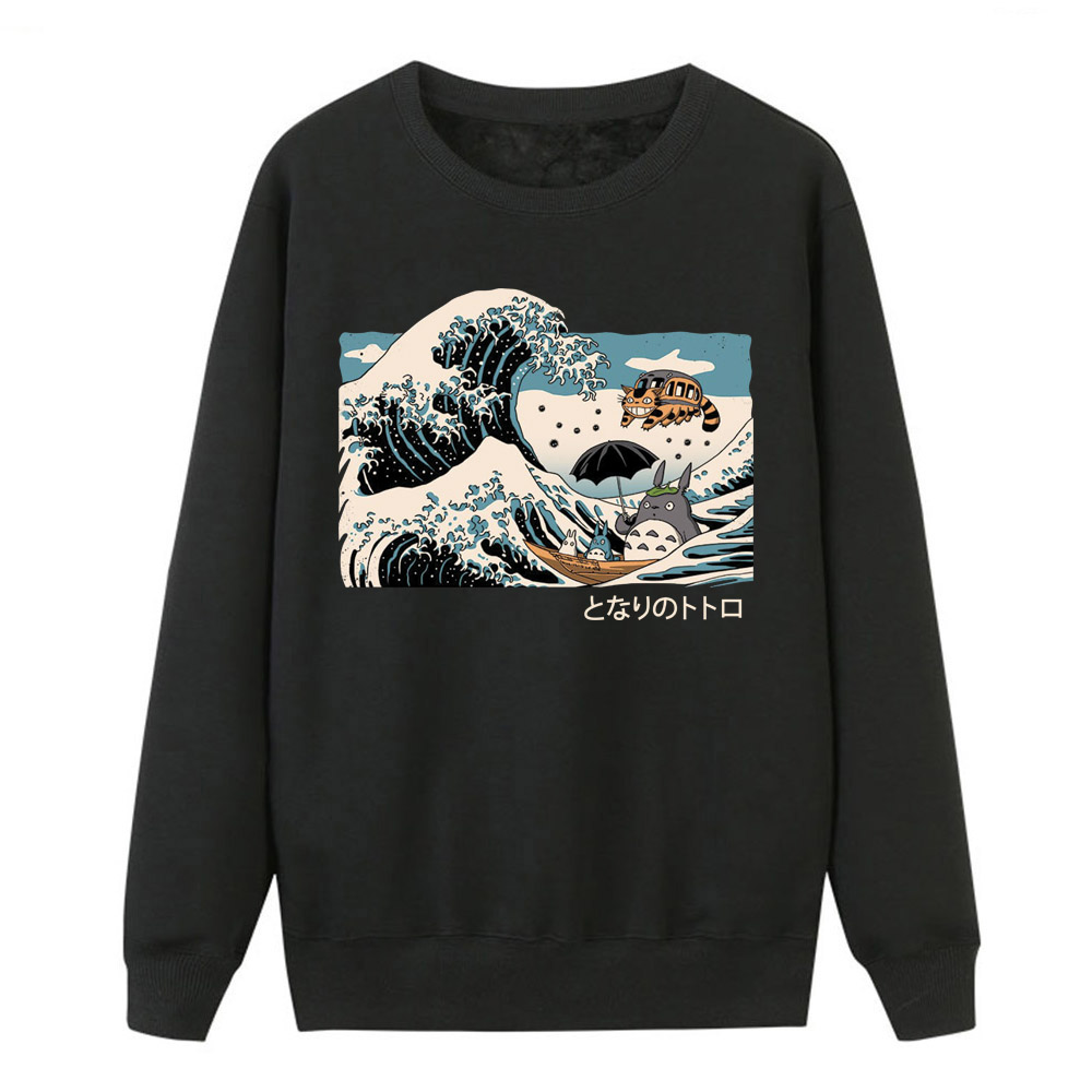 The Great Wave Totoro Harajuku Sweatshirts Women Hoodies Winter Autumn Cartoon Kawaii Streetwear Sportswear 2019 Female New Tops
