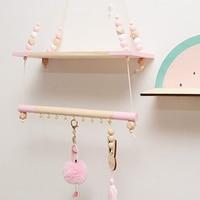 Candinavian Suspended Baby Room Shelf Kids Camera Design Pearls Clothes Hanging Rack Wooden Swing VJ Drop