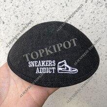 Personalizado, personalizado, preto denim kippahs, kippot, kipot com logotipo do bordado como o design do cliente para o casamento