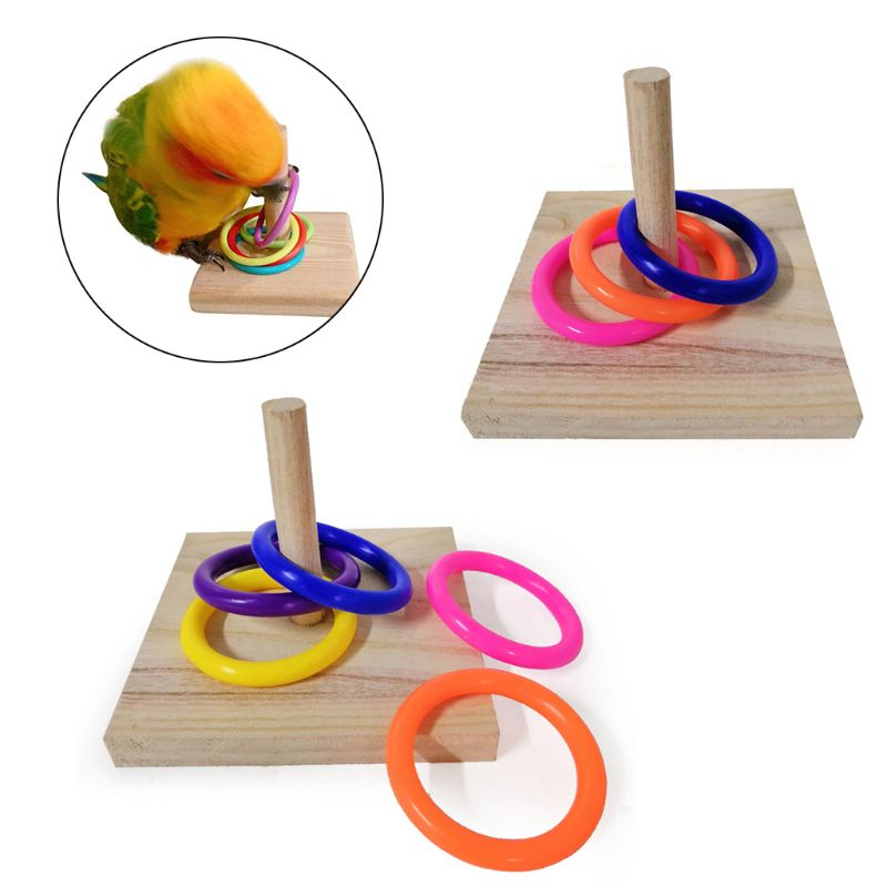 Bird Educational Toys Wooden Platform Stacking Rings Parrot Develop Intelligence Training Pet Supplies For Lovebird