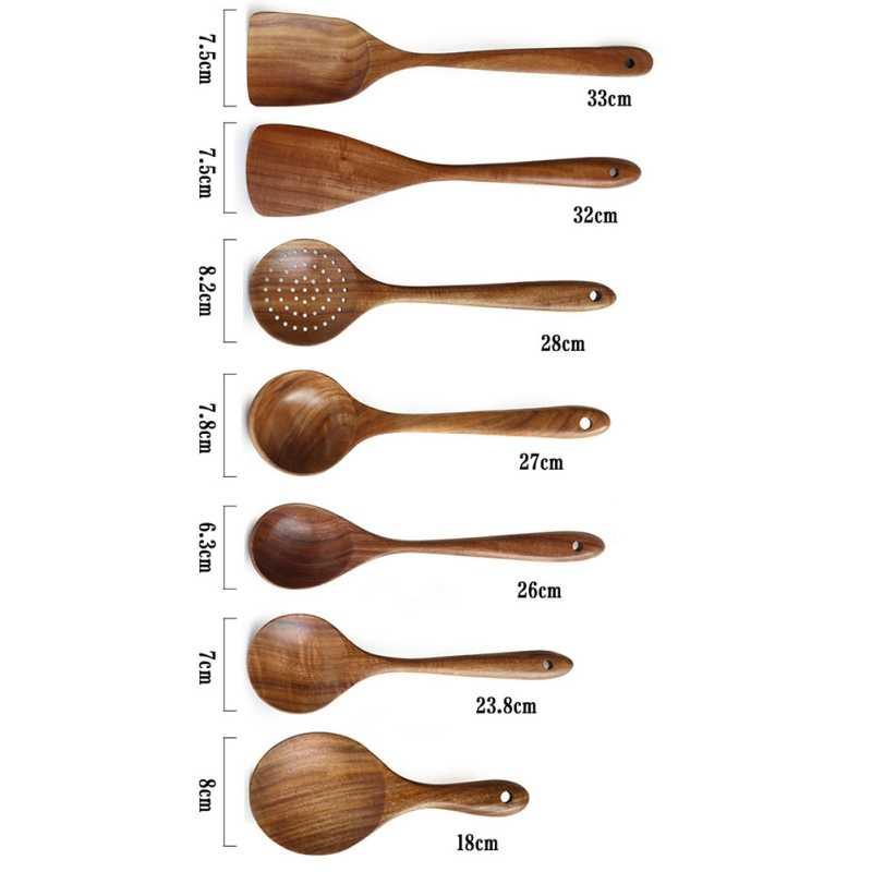 Mestolo Turner Lungo Riso Colino Minestra Skimmer Cottura Cucchiai Paletta Da Cucina Tool Set Per La Casa In Legno di Teak Naturale Cucchiaio Da Tavola