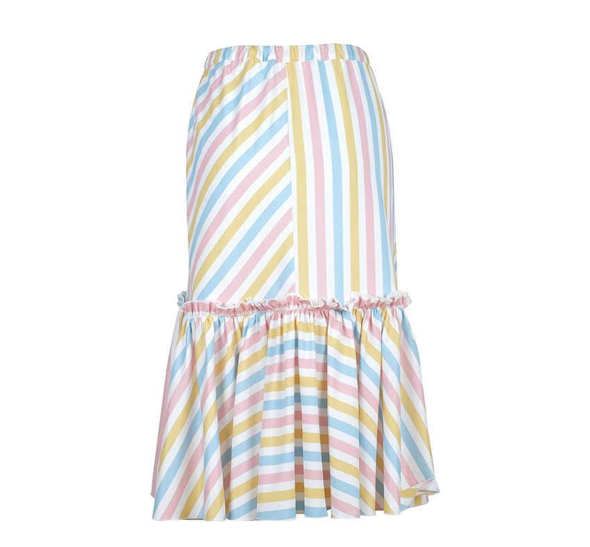 Элегантные радужные полосатые юбки для женщин 2019, кружевные юбки трапециевидной формы с высокой талией, повседневные тонкие юбки Jupe Femme, прямая юбка средней длины