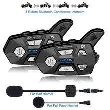 WAYXIN Helmet Headsets R9 2Pcs Bluetooth Intercom For Motorcycle 4 Riders Talking Same Time Bluetooth Intercom FM 4 Riders 1500M