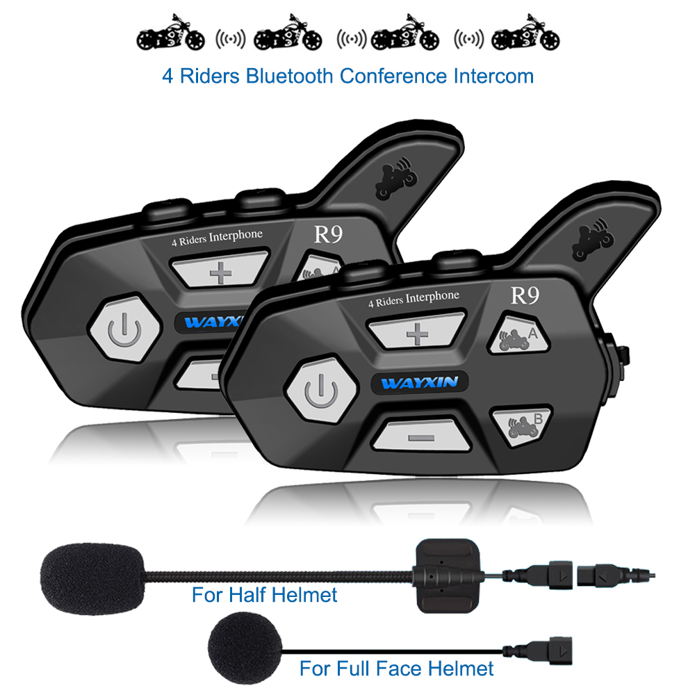 WAYXIN Helmet Headsets Bluetooth-Intercom Motorcycle 4-Riders Talking-Same-Time New R9 title=