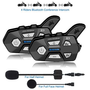 WAYXIN nowy na kask słuchawki R9 2 sztuk domofon bluetooth dla motocykli 4 zawodników rozmowy w tym samym czasie domofon bluetooth FM 4 zawodników tanie i dobre opinie 1000 m Kask zestaw słuchawkowy Sterowanie głosem Uniwersalny Funkcji Parowania Wodoodporna Redukcja szumów 110g intercom