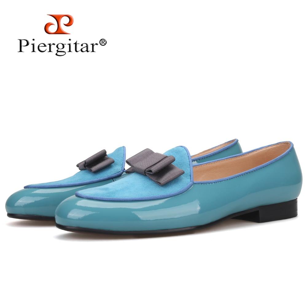 Piergitar 2020 handmade sky blue patent leather men shoes fashion bow design men's loafers leather insole men flats plus size