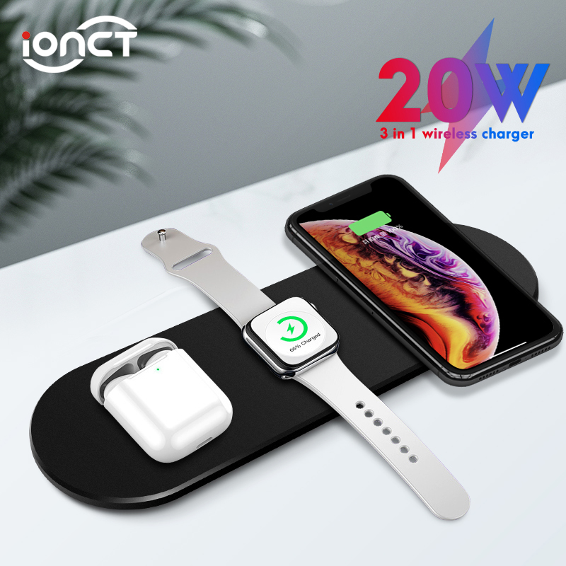 IONCT 3 In 1 Qi Wireless Charger For IPhone X Xs Max XR 11pro Fast Wirless Charging For Apple Watch 1 2 3 4 AirPods Charger Dock