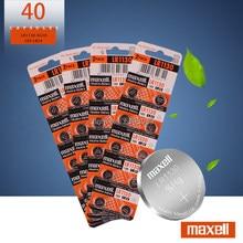 Piles alcalines pour pièces de monnaie Maxell, 1.5V, AG10, LR1130, LR 1130, AG10, 389, LR54, SR54, SR1130W, 189, LR1130, 40 pièces/lot