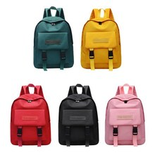 Women Unisex Fashion Solid Color Double Buckle Nylon All-match High School Student Bag Backpack
