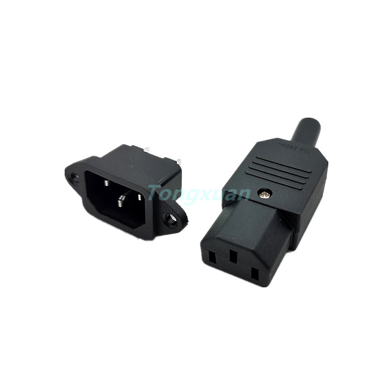 1PC  AC250V 10A 3pin IEC C13 Power Supply Plug Socket Adapter Male Plug & Female Jack Rewirable Cable Wire Connector