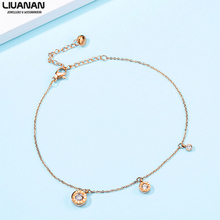 CZ Charm Chain Bracelet Rose Gold Stainless Steel Roman Numeral Bracelet Love Jewelry for Woman fashion bracelet for women heart rose gold jewelry link chain lady forever love words stainless steel bracelet