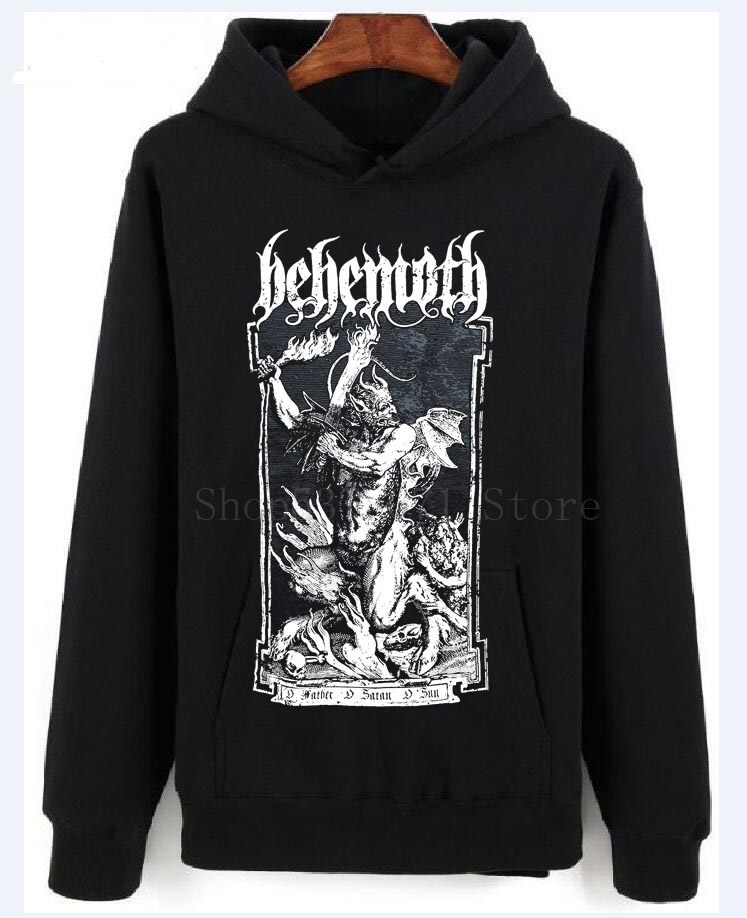 Behemoth Men's O Father Hoodies Black Printed Sweater Men Cotton Hoodies New Style Fashion 2018 Top Tee Mens Plus Size