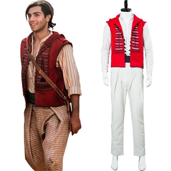 2019 Movie Aladdin Costume Cosplay Halloween Costumes Prince Mena Massoud Outfit Cosplay Aladdin Suit with Bag Custom Made image