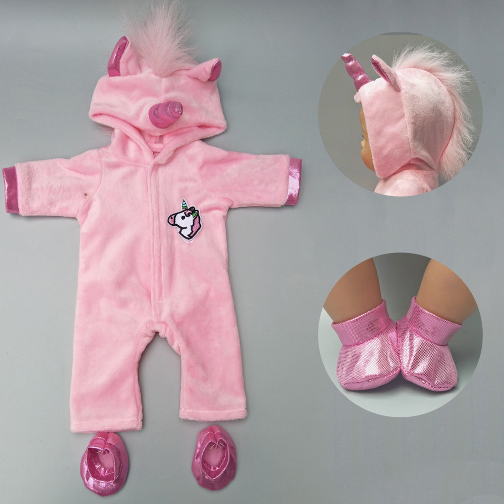 Doll Clothes For 43cm Baby New Born Doll Clothes Coat Unicorn Hoodie Set Baby Doll Christmas Clothes Unicornio Outfit For Doll