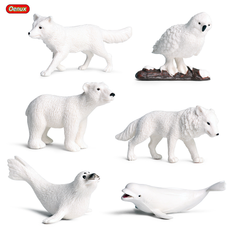 Oenux 6PCS Mini Arctic Animals Penguins Polar Bear Snowy Owl Dolphin Wolf Action Figures Model Figurine Miniature Lovely Kid Toy