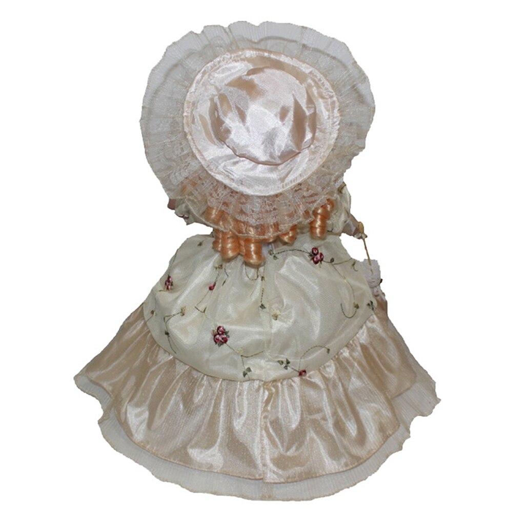 Poupée en porcelaine 16 pouces Debout Avec Crème Robe guipure dentelle et Chapeau Assorti et Bouclés Cheveux Dorés