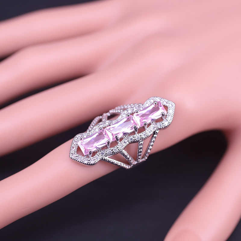 Styl dubajski księżniczka różowa cyrkonia kolor srebrny komplet biżuterii damskiej długie kolczyki naszyjnik pierścień unikalna konstrukcja szybka wysyłka